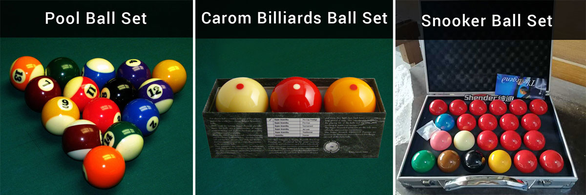Difference between pool balls, carom billiards balls and snooker cue balls